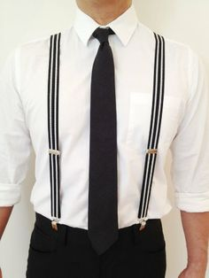 The Grunion Run : Groomsmen Shop - Black w/ White Stripes Suspenders Suspenders And Tie, Bridesmaids And Groomsmen, Groomsmen Ties, Wedding Groom, Bali Wedding, Gatsby Wedding, Wedding Ideas, Striped Wedding, Groom Outfit