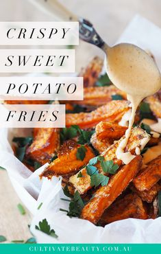 Ever wondered what the secret is to making crispy sweet potato fries at home? Well, we found it! In this recipe, we're sharing our secret to baking crispy sweet potato fries with an audible crunch! Don't worry - there's no fancy batter involved either, so these fries stay 100% paleo, gluten and dairy free. Click to get the full recipe and a printable recipe card!