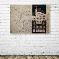 """Picture """"Batllo house""""  View in a room. Dimensions: 97 (W) x 107 (H) x 5 cm (D). Collage. Mixed Technique."""