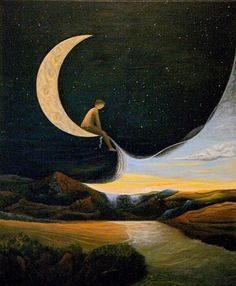 Mostly, but not limited to, nature-themed art and illustration. Header image by Jahna Vashti. Art En Ligne, Beautiful Moon, Moon Art, Surreal Art, Stars And Moon, Oeuvre D'art, Artsy Fartsy, Les Oeuvres, Moonlight