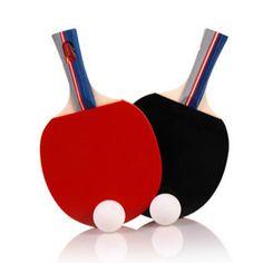 새로운 2 개/대 탁구 라켓 탁구 패들 긴/짧은 핸들 더블 얼굴 테이블 테니스 라켓 세트 공 + 가방