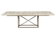Includes two 20″ extensions. Shown with one extension. Full extension is 120″. finish: barrington on hand planed top, light bronze plated base materials: ash solids and veneers, plated metal