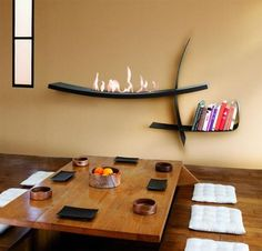 modernes Wohnzimmer-japanischer Stil Kamin
