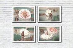 Water Lily/Botanical print set/White lotus flower/Watercolour/Flowers/Downloadable prints/Antique/Vintage Watercolour Flowers, Watercolor Print, Vintage Images, Retro Vintage, White Lotus Flower, Frame Download, International Paper Sizes, Etsy App, Antique Prints