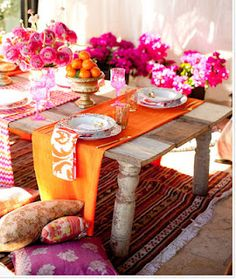 Pink & Orange Party Table