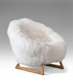Kurt Ostervig, A Pair of Rare Danish Oak and Sheepskin Chairs image 2
