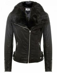Long Sleeves Fur Black Leather Jacket