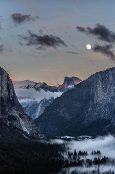 """Veil over the valley by Santiago"" Yosemite National Park, USA Nature Landscape, Landscape Photos, Landscape Photography, Nature Photography, Beautiful Moon, Beautiful World, Beautiful Places, All Nature, Amazing Nature"