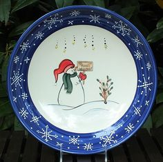 """Snowman Pasta Bowl """"All Flakes Welcome"""" on sign ~ Winter Wonderland Collection"""