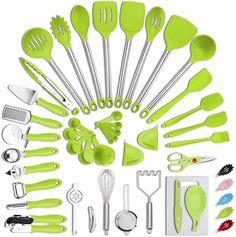 Kitchen Cookware Sets, Kitchen Utensil Set, Kitchen Sets, Kitchen Tools, Best Cooking Utensils, Cooking Spatula, Cooking Tools, Nylons, Green Kitchen Accessories