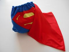 Superman OS AI2 Cloth Diaper with snap on cape!  by Dutch Baby Boutique www.facebook.com/DutchBabyBoutique