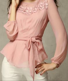 3 color S XXL lace printing blusas casual long sleeved chiffon shirt summer 2015 new women blouse Chiffon Shirt, Chiffon Tops, Ruffle Blouse, Peplum, Skinny, European Fashion, European Style, Blouse Designs, Blouses For Women