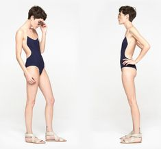 Chloé Border Bath Suit in Navy and Nude, Chloé backless one-piece swimsuit, summer 2014 Human Poses Reference, Pose Reference Photo, Body Reference, Figure Reference, Jumping Poses, Model Sketch, Sketch Drawing, Backless One Piece Swimsuit, Drawing Poses