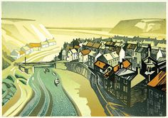 Staithes - Linocut by Trevor Sowden
