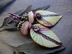 Blackberry Crush - wearable art polymer clay pink green berry shade garnet bronze earrings. by PreciousViolet on Etsy