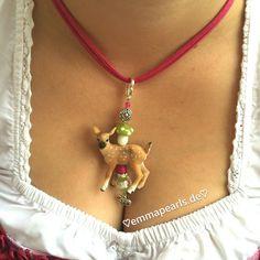 ♡HANDMADE BY EMMA PEARLS♡  Dirndl,-/Trachtenschmuck, Bambi pink/grün für's Oktoberfest