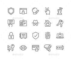 Line Security Icons. Download here: http://graphicriver.net/item/line-security-icons/16582937?ref=ksioks