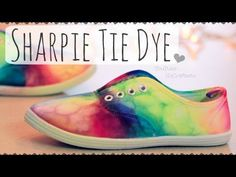 DIY Sharpie Tie Dye Shoes // Rainbow Sneakers How To...I just wonder if they will stain feet or socks.  how color fast are they?