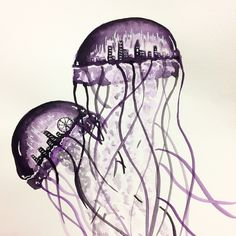 Another watercolor jellyfish drawing in violet by artsan design! - Another watercolor jellyfish drawing in violet by artsan design! Another waterc - Lion's Mane Jellyfish, Jellyfish Drawing, Watercolor Jellyfish, Jellyfish Painting, Blue Jellyfish, Tiffany Jewelry, Jellyfish Decorations, Bird Book, Jewelry Illustration