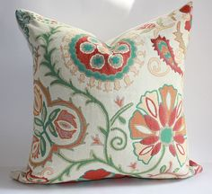Suzani Pillow Cover / 12x16 Boudoirsize / Woven by DecidedlyChic, $28.00