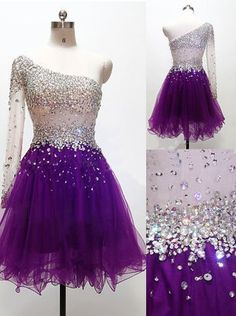 Luxurious A-line Short Purple Tulle One-shoulder Homecoming Dress/Cocktail Dress