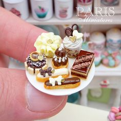 Dark chocolate, milk chocolate and white chocolate pastries and treats by Paris Miniatures, via Flickr