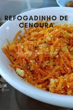 Esse refogadinho de cenoura é bem fácil e delicioso. Vegetable Recipes, Vegetarian Recipes, Healthy Recipes, Diet Dinner Recipes, Salty Foods, Easy Cooking, Carne, New Recipes, Good Food