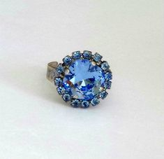 Swarovski crystal 12mm square fancy stone ring,light sapphire,antique silver plated,adjustable size by CrystallizedByLena on Etsy