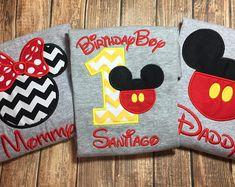 Custom gray boys first birthday disney shirts- set of 3 disney shirts- boys first birthday mickey shirts with matching parent shirts