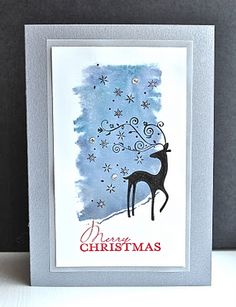 Stampin' Up ideas and supplies from Vicky at Crafting Clare's Paper Moments: Stars in my eyes! Stamped Christmas Cards, Christmas Cards To Make, Christmas Deer, Xmas Cards, Christmas Greetings, Handmade Christmas, Holiday Cards, Christmas 2019, Holiday Ideas