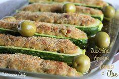 Gustosissime Zucchine ripiene di Tonno e Olive al forno,facili e veloci da preparare :D