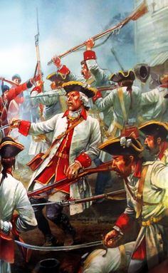 French fusiliers under British assault, Seven Years War