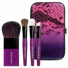 SEPHORA COLLECTION Faux Snakeskin Mini Brush Set Purple / Pink by SEPHORA COLLECTION. $14.00. What it is:A set of four compact brushes perfect for travel or midday touch-ups.What it does:This set includes four miniature, must-have brushes to create a full face on the go with extreme ease. The compact case features a secure snap closure and fits brushes perfectly, while the chic, brightly colored, faux snakeskin case coordinates with the brushes for a super stylish look.This set ...