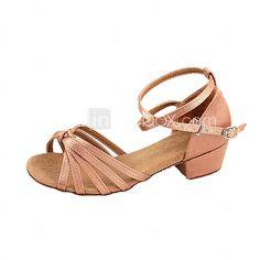 Scarpe da ballo - Non personalizzabile - Donna / Bambino - Latinoamericano / Sala da ballo - Tacco spesso - Satin - Marrone - EUR €11.71