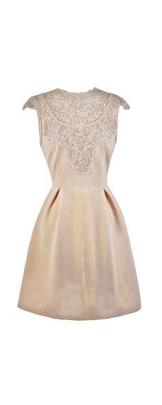 Lily Boutique Love Your Neck-Lace Beige A-Line Dress, $40 Beige Lace A-Line Dress, Cute Beige Dress, Beige Party Dress www.lilyboutique.com