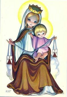 Risultati immagini per icono virgen del carmen Blessed Mother Mary, Blessed Virgin Mary, Religious Images, Religious Art, Mont Carmel, Hail Holy Queen, Images Of Mary, Lady Of Fatima, Mama Mary