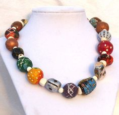paper bead patterns   Necklace - Paper mache beads with primitive tribal patterns & one ...