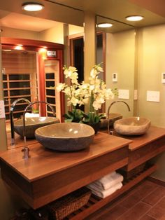 Asian Bathroom By Kelli Kaufer Designs I Hate My Bath Au Naturale Episode Love The Porcelain Floor And Shower Tiles That Look Like Wood Also The Shower