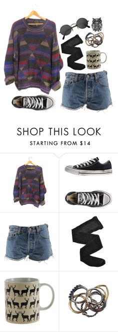 """""""Indie"""" by jocelynj17 ❤ liked on Polyvore featuring Converse, Levi's, Fogal, Anorak, Iosselliani, Retrò and INDIE HAIR"""