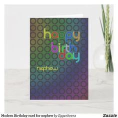 Modern Birthday card for nephew Birthday Card For Nephew, Birthday Gift Cards, Masculine Birthday Cards, Birthday Party Invitations, Invites, Disney Sweet 16, Popular Birthdays, Son In Law, Custom Greeting Cards