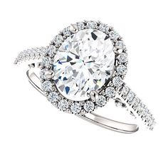 Forever One Moissanite Engagement Ring 9x7 by DKBJewelryDesigns