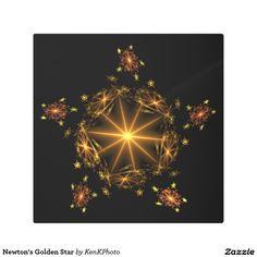Newton's Golden Star Metal Photo Print- It's full of stars!