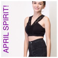 """ADORABLE BRALETTE BY APRIL SPIRIT! Read below. TAKING PREORDERS! ADORABLE BRALETTE BY APRIL SPIRIT. Three (3) available in basic black. OSFM; Bust is 13.5"""" (lying flat). Will fit S/M best. 92% Nylon, 8% Spandex. Hurry, these should sell out ASAP! Bundle and SAVE too! ☘Price firm unless bundled.☘Stock photos. April Spirit Intimates & Sleepwear Bandeaus"""