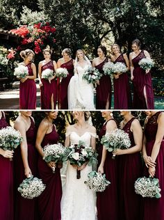 baby's breath bouquets for the bridesmaids - complements the bride's bouquet perfectly!