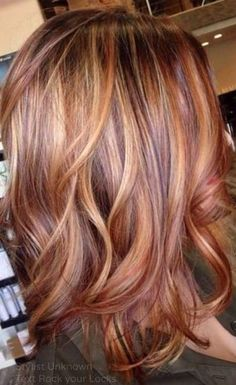 Auburn, golden blonde, brown. when i see all these fall hair colors for brown blonde balayage carmel hairstyles it always makes me jealous i wish i could do something like that I absolutely love this fall hair color for brown blonde balayage carmel hair style so pretty! Perfect for fall!!!!!
