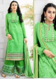 Casual Wear  Georgette Green Printed Churidar Suit