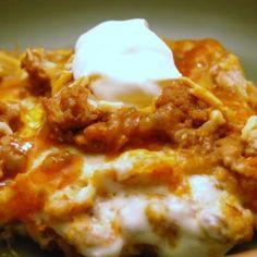 Creamy Burrito Casserole. Yummy as a vegetarian dish:)