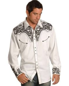 aee9f94a Buy Scully Men's Pewter-Tone Embroidery Retro Western Shirt Big and Tall -