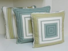 Mitered pillows, same fabric 3 ways. Hines Bayley Stripe in Citrus Steel. Arabelle Taggart.