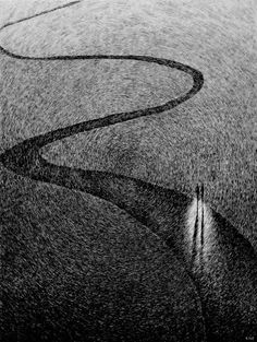 Fingerprint - Le Chemin by Nicolas Jolly #illustration black & white